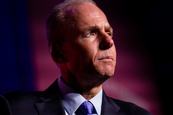 Dennis Muilenburg, president and chief executive officer of the Boeing Co., listens during the U.S. Chamber of Commerce Aviation Summit in Washington, D.C., U.S., on Thursday, March 7, 2019. The 18th Annual Aviation Summit brings together top leaders in business, aviation, and government to publicly discuss an important industry in the American economy. Photographer: Anna Moneymaker/Bloomberg