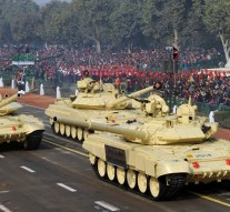 Tank T- 90 (Bhishma) passes through the Rajpath during the full dress rehearsal for the Republic Day Parade-2016, in New Delhi on January 23, 2016.