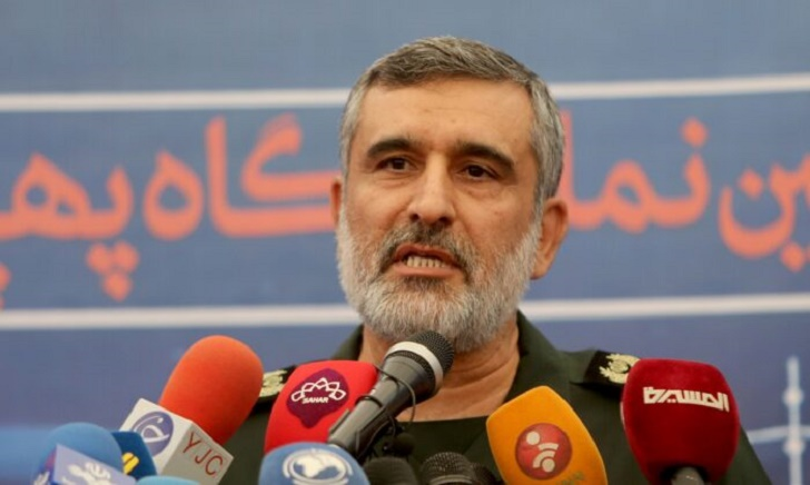 """General Amir Ali Hajizadeh, the head of the Revolutionary Guard's aerospace division, speaks at Tehran's Islamic Revolution and Holy Defence museum, during the unveiling of an exhibition of what Iran says are US and other drones captured in its territory, in the capital Tehran on September 21, 2019. - Iran's Revolutionary Guards commander today warned any country that attacks the Islamic republic will see its territory become the """"main battlefield"""" as he opened an exhibition of captured drones. (Photo by ATTA KENARE / AFP)        (Photo credit should read ATTA KENARE/AFP via Getty Images)"""